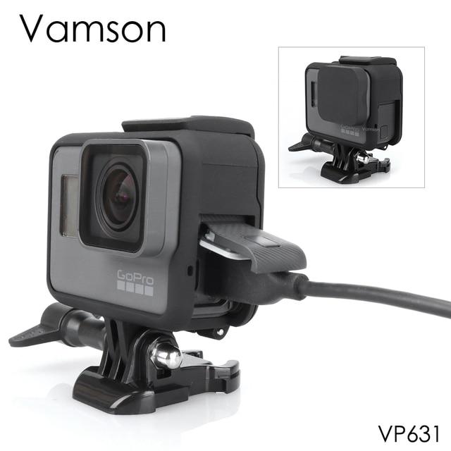 Vamson Housing Case Base Mount  Protective Frame Case for Go pro Accessories Action Camera Hero7 6 5Black 7 Silver/White VP631
