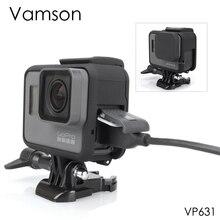 Vamson الإسكان حالة قاعدة جبل واقية حالة الإطار ل الذهاب برو الاكسسوارات عمل الكاميرا Hero7 6 5 أسود 7 الفضة /الأبيض VP631
