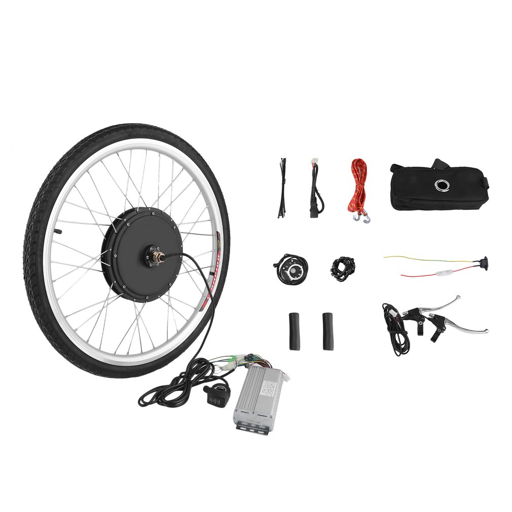 48V 1000W Powerful 26 Inch Front Wheel E-Bike Conversion Kit Electric Bicycle Motor Set Cycling Bike Accessories 24v 500w electric mountain bike powerful brushless gearless hub motor 26 rear wheel electric bike conversion kit with lcd meter