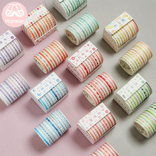 Mr Paper 10pcs/box 8 Designs 5mm*2m Colorful Rainbow Line Scrapbook Cut-off Rule Washi Tape Bullet Journaling Deco Masking Tapes