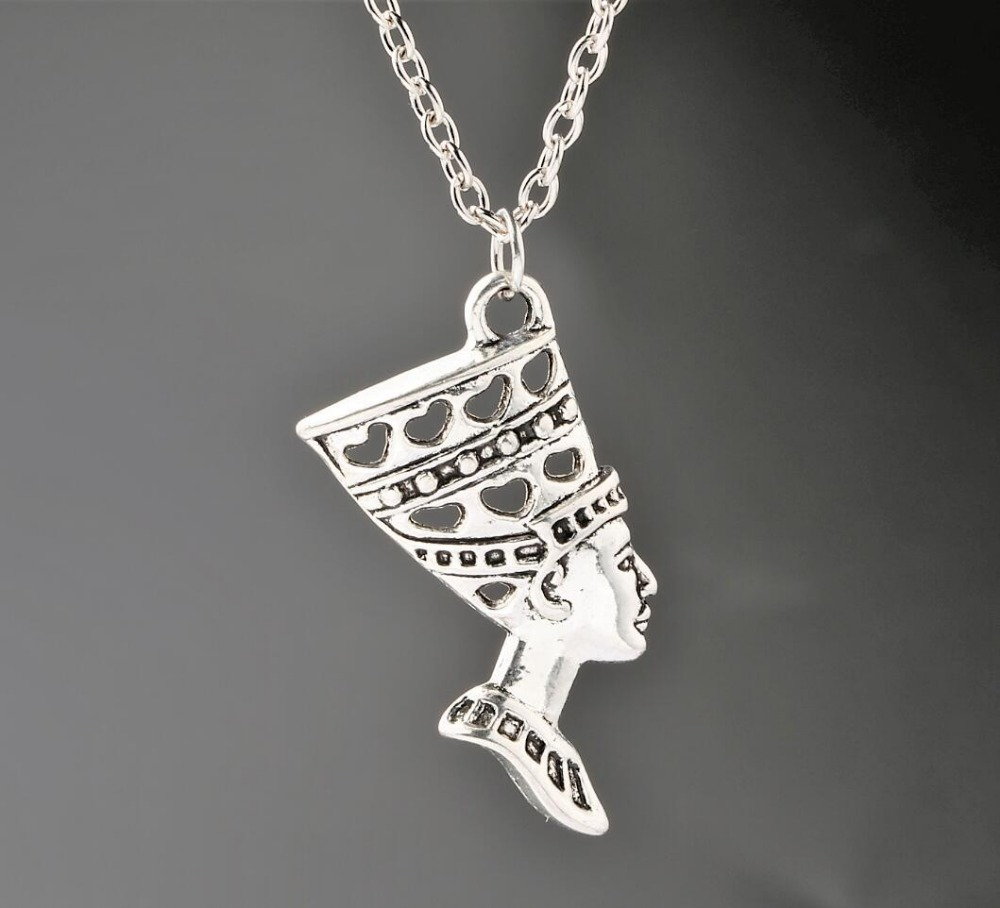 Egyptian Egypt Queen Nefertiti Ancient Silver Goddess Head Charms Pendant Necklace Fashion Jewelry Christmas Gift