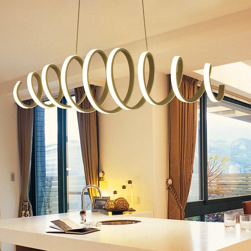 Creative Modern LED Pendant Light Aluminum Acrylic Spring Ceiling Hanging Lamp Light Fixtures For Kitchen Island