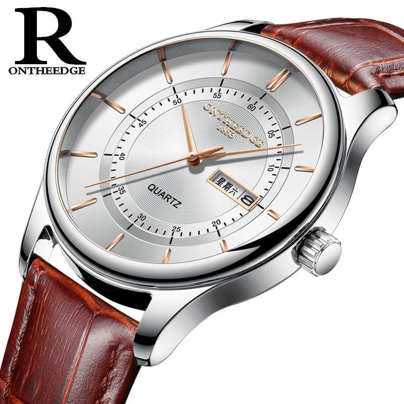 גברים של עסקי אופנה שעון עור רצועת מיושם מדד שבוע/תאריך פונקצית 3ATM עמיד למים קוורץ מתכת שעון מתנה עבור גברים