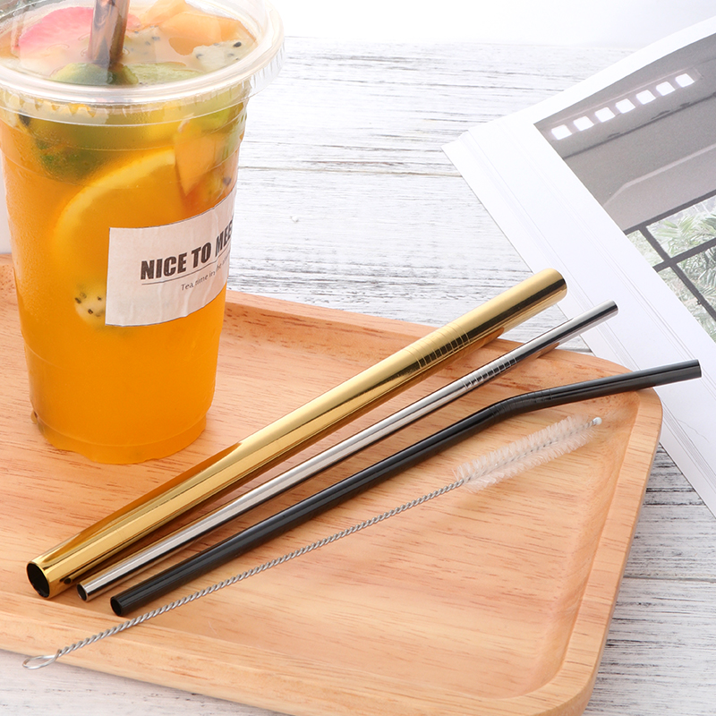 US $11 37 46% OFF|10Pcs Metal Straw Colorful Aluminum Drinking Straws Food  Grade Juicy Reusable Straws 3 Brushes Set Stainless Steel Party Straw-in