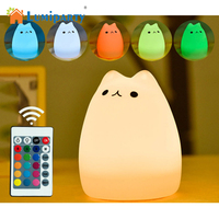 LumiParty New USB Charge Carton Night Light Silicone Remote Timer Cute Cat Lamp Tap Control Lamp
