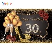 Yeele 30th Birthday Party Golden Balloon High Heels Rose Photography Backdrop Woman Photographic Backgrounds Photo Studio
