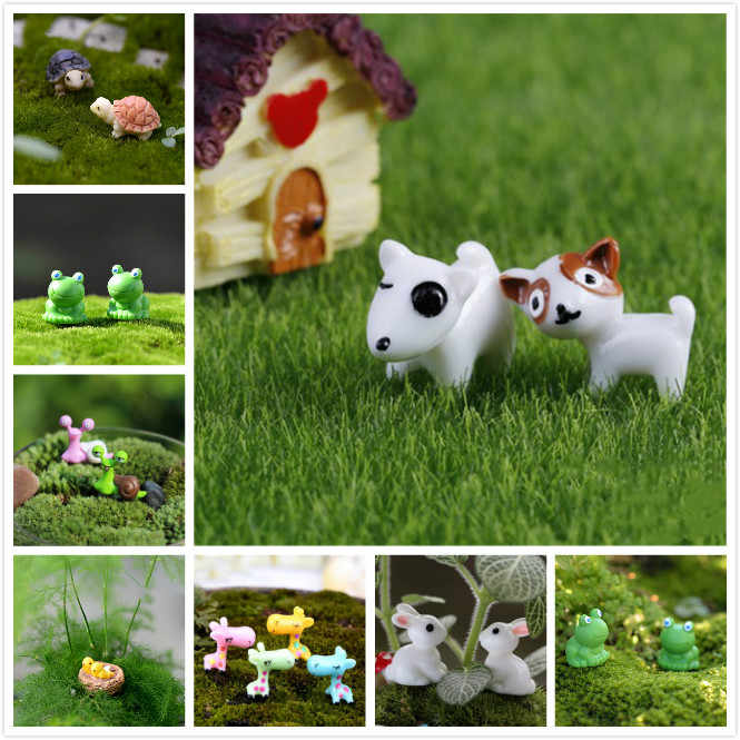 Artificial Mini Frog/Birds/Turtles/Rabbit/Dogs/Giraffe Miniatures Fairy Garden Terrarium Resin DIY Animal Decorative Crafts