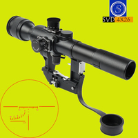 New Optical Sight SHOOTER Tactical Hunting SVD Dragunov Optics 4x26 Red Illuminated Rifle Scope Airsoft Red Dot Sight Sniper