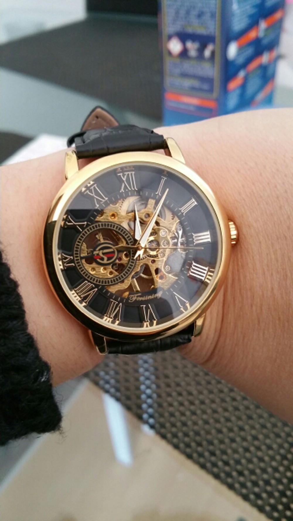 Forsining 3d Logo Design Hollow Engraving Black Gold Case Leather Skeleton Mechanical Watches Men Luxury Brand Heren Horloge 14