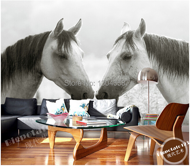 Custom photo wallpaper black and white horse for the living room bedroom TV background wall vinyl wallpaper Papel de parede custom 3d wallpaper flower murals for the living room bedroom tv background wall vinyl papel de parede