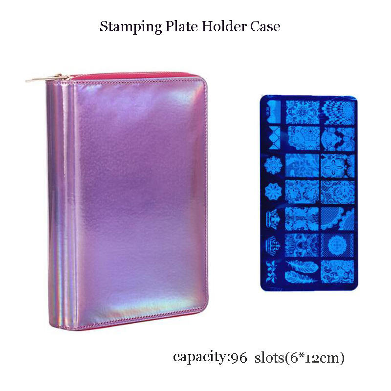 Nail Stamping Plate Holder Case Pu Leather Rectangular 96 Slots Manicure Nail Art Plate Organizer vibration of orthotropic rectangular plate