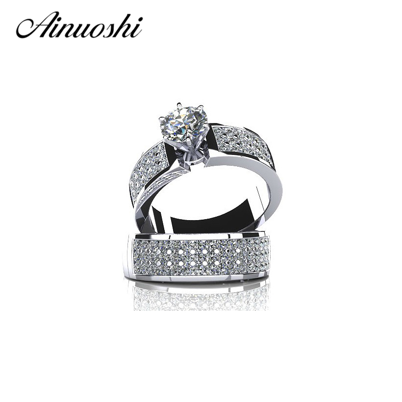 AINOUSHI 2017 Hot White Wedding Party Rings Set Solid 925 Sterling Silver SONA Bague for Women EngagementAINOUSHI 2017 Hot White Wedding Party Rings Set Solid 925 Sterling Silver SONA Bague for Women Engagement