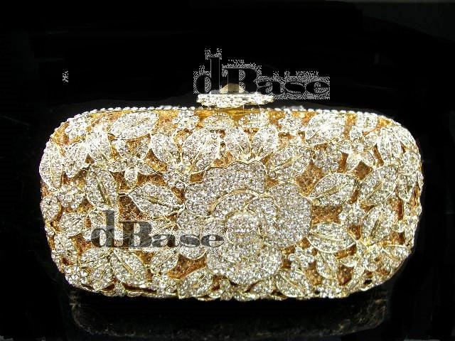ФОТО A6158GD crystal Rose Floral flower Lady fashion Bridal Party Night hollow GOLDEN Metal Evening purse Handbag clutch bag