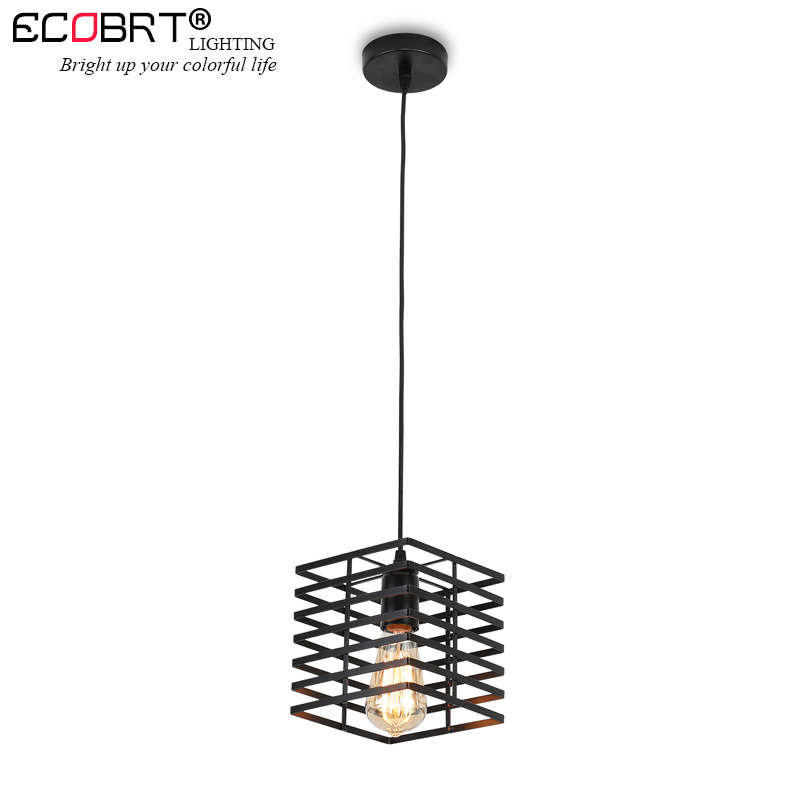 Modern Black Iron Hanging Cube Cage Vintage Lamp Led Pendant Light Bulb E27 Dining Room Restaurant Counter Industrial Loft Retro
