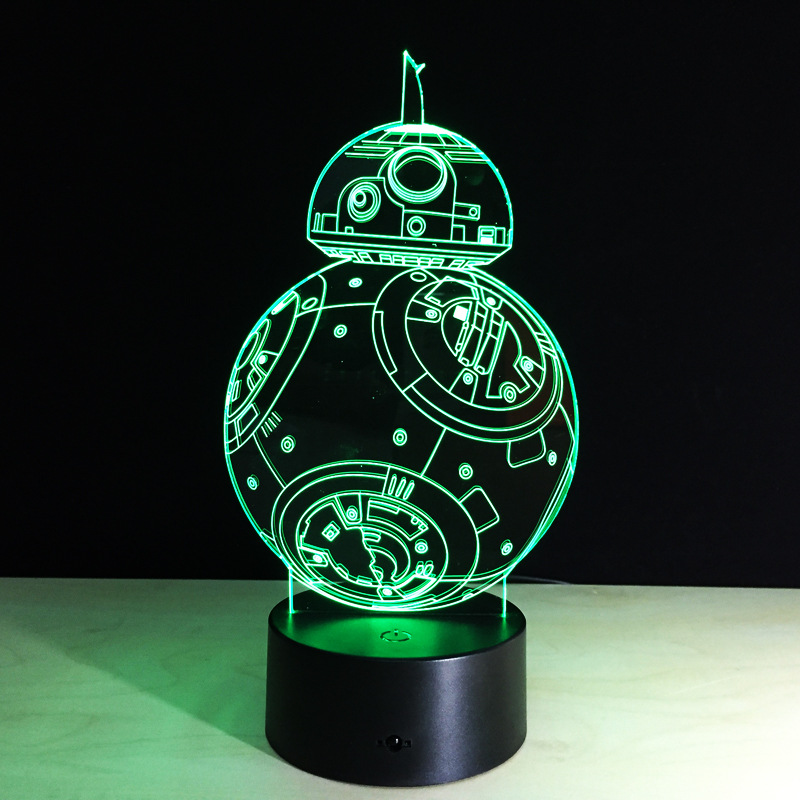 Cadeaux Créatifs Star Wars Lampe 3D Night Light Robot USB Led Table - Veilleuses - Photo 4
