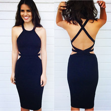 New Arrival Black Color Ladies Sexy Bodycon Dress HL Bandage Dress Sleeveless Club Night Dress