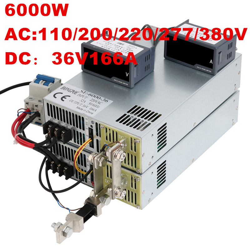 6000W 36V 166A 0-36V power supply 36V166A AC-DC High-Power PSU 0-5V analog signal control DC36V 166A 110V 200V 220V 277VAC 4500w 36v 125a dc0 36v power supply 36v125a ac dc high power psu 0 5v analog signal control se 4500 36 dc36v 126a