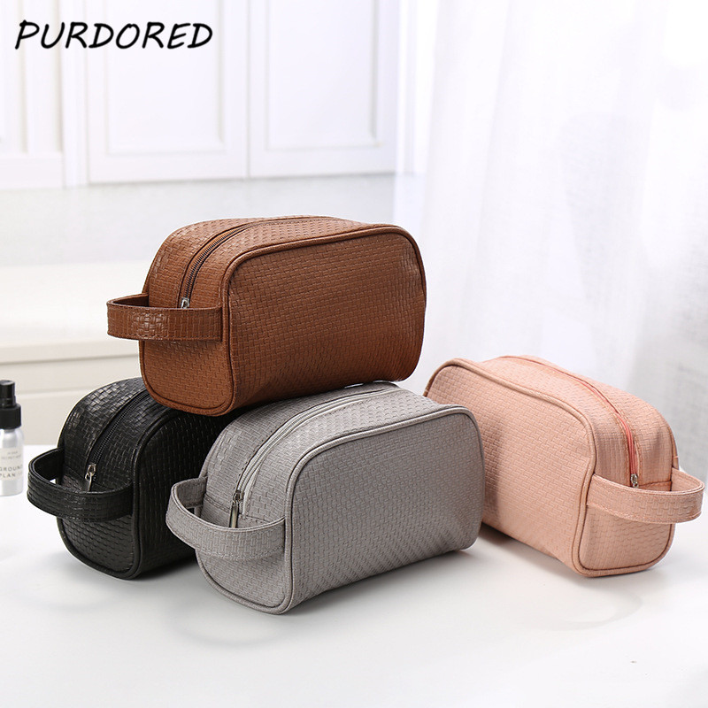 PURDORED 1 Pc Solid Color Men Washing Bag Unisex Cosmetic Bag For Make Up Travel Toiletry Bag  Trousse De Toilette Dropshipping