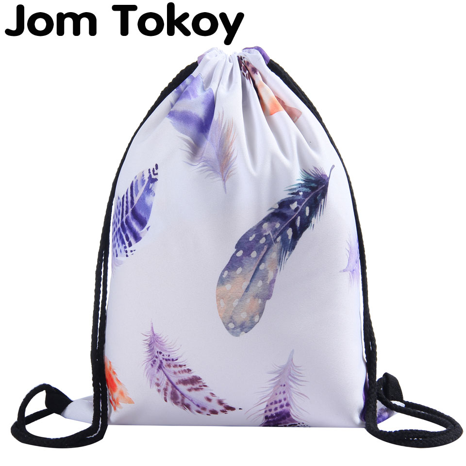 Jom Tokoy 3D Printing Feathers Woman Drawstring Backpack Fullprinting Girls Drawstring Bag
