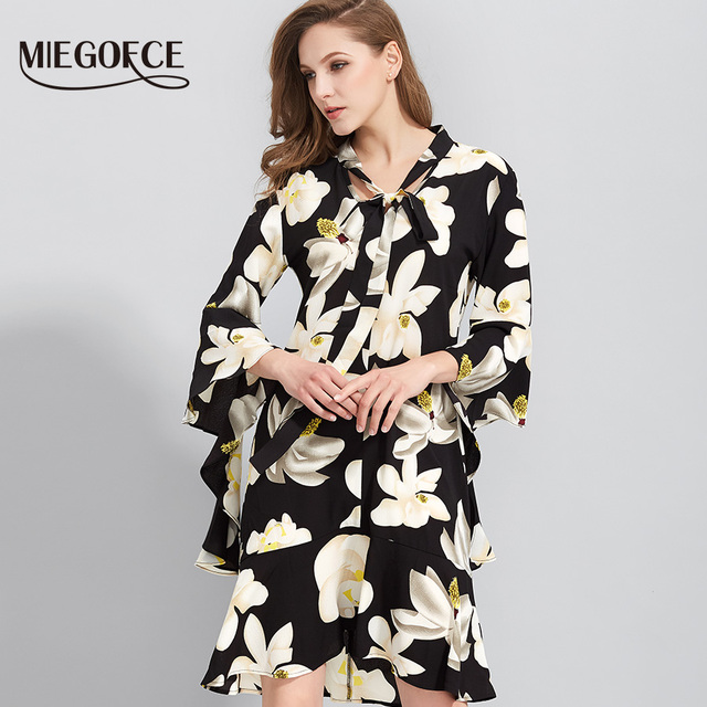 Boho Floral Print Elegant Dress Women Chiffon V Neck Summer Flare Trumpet Sleeve Loose Casual Dress MIEGOFCE New Arrival