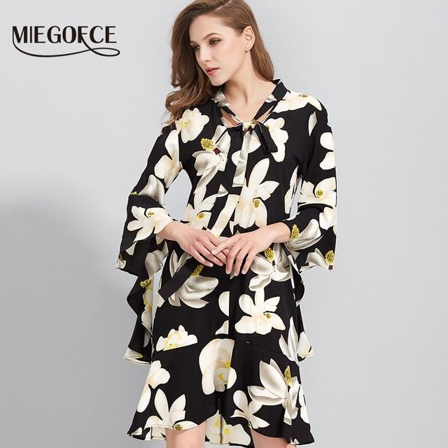 Элегантное цветочное Бохо платье Летнее Шифоновое платье с V шеей трубчатые рукава Новое поступление от MIEGOFCE