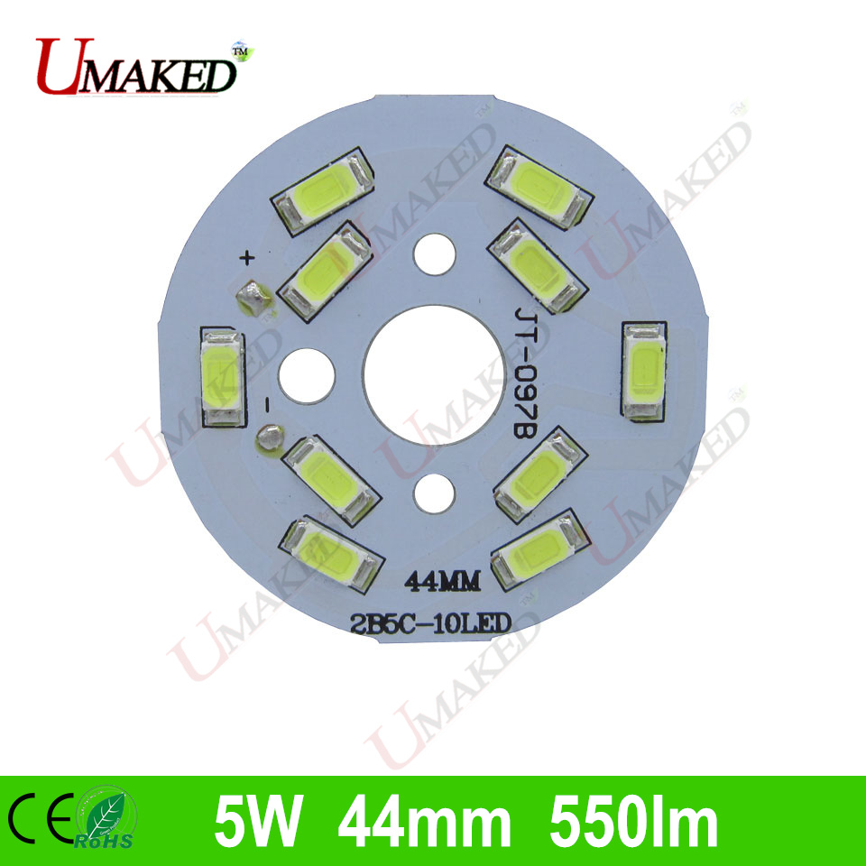 5W 44mm 550lm LED PCB with smd5730 chips installed, aluminum plate base for bulb light, ceiling light, LED lamps  10pcs led aluminum plate 40mm for 5w 5730 smd heat sink
