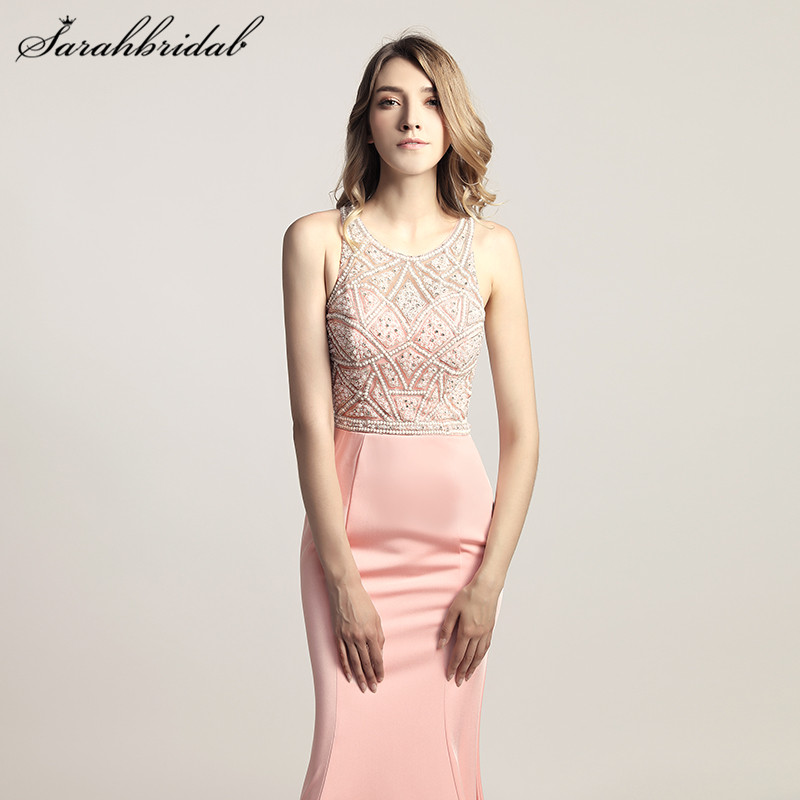 Charming Elegant Mermaid Long Evening Dresses Satin pearls Back Zip O-Neck Sleeveless Prom Party Gown Beading Floor Length LX420