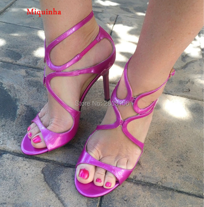 Sexy Peep Toe High Heels Patent Leather New Summer Sandals Cut Outs Thin Heel Pumps Party Shoes Woman summer new brand patent leather cachottiere 100mm women sandals fretwork peep toe high heels shoes woman pumps zapatos mujer