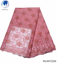 Beautifical french laces fabrics high quality 2019 pink dress with rhinestones african fabric 5yards/lot ML4N722