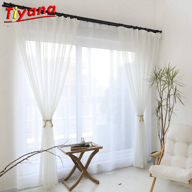 Us 4 96 23 Off Modern Pure Solid Tulle Curtains For Shading Kitchen Hotel Balcony Living Room White Green Red Yellow Orange Hot Sale Wp184 20 In
