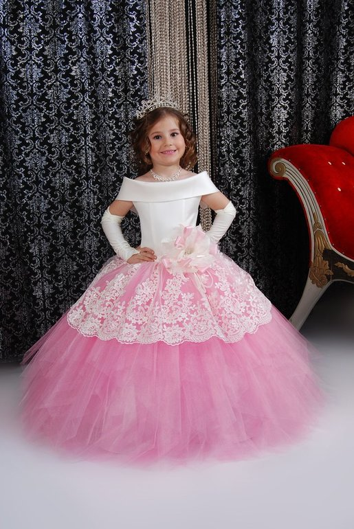 2016 New Hot Pink Tulle White Lace   Flower     Girls     Dresses   Floor Length   Girls   First Communion Pageant   Dress   Cap Sleeve Ball Gown