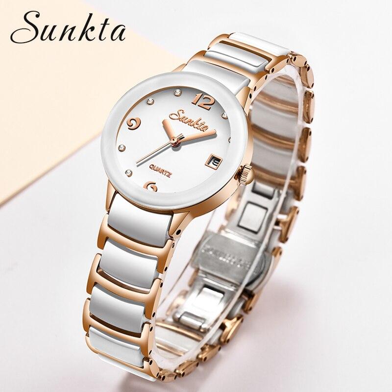 Femininos de Luxo Design de Moda Relógio de Pulso Sunkta Relógios Cristal Ouro Dial Pulseira Senhoras Feminino Shengke