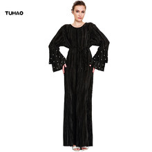 TUHAO plus size 3xl Muslim Elegant Dress 2018 Spring Women Fashion Pleated  Beading Dresses Butterfly Evening Party Dress CM38 de69dc032c59