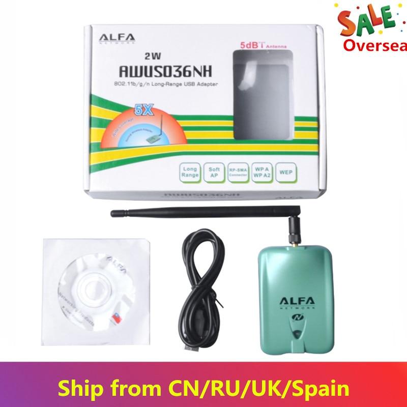 Adaptador USB Wifi Alfa KuWFi AWUS036NH Ralink3070L Wifi Receiver 2000mw 150Mbps USB Wifi Placa de Rede Sem Fio para PC /Laptop