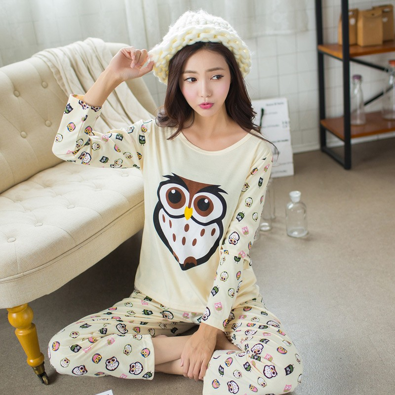 5053929c7 Owl Pajamas Women 2017 New Fashion Round Neck   Long Sleeves Owls ...