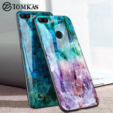 TOMKAS Agate Marble Phone Case for Huawei P20 Lite Case on Honor 9 Lite Soft Edge PC+Glass Back Cover Case on for Huawei P Smart(China)