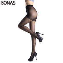 BONAS Spring Sexy Nylon Tights For Women Fashion Cotton Crotch Pantyhose Female  Solid Skin Color Lolita Style Hosiery