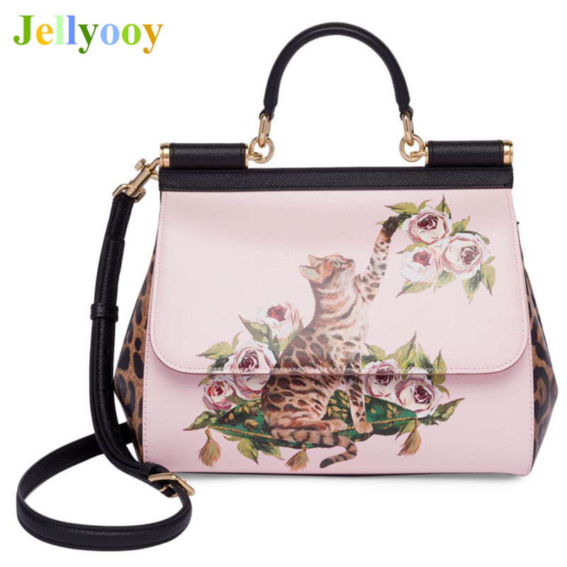 Luxury Italy Brand Sicily Fashion Cat Printed Genuine Leather Handbag Famous Designer Women Handbag Lady Messenger Shoulder Bags borsa handbag taschen leather brand italy handicraft luxury thailand orchid bucket women messenger totes shoulder valise handbag
