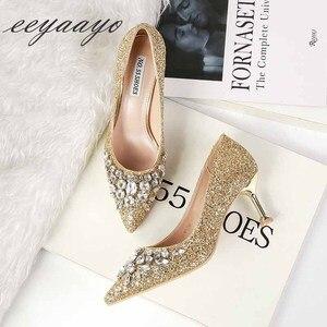 Image 3 - Женские туфли лодочки на высоком тонком каблуке, туфли с острым носком и кристаллами, свадебные туфли золотого цвета, новинка весны осени 2019