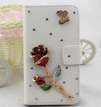 3D Diamonds handmade crystal white PU leather wallet flip cellphone cover case skin For HTC Desire