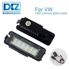 цена на DXZ 2Pcs Car License Plate Led Light Lamps 12V 24V for VW GOLF 4 5 6 7 Polo 6R Passat CC Sedan Phaeton Scirocco EOS NEW BEETLE