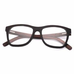 Image 4 - 100% 천연 나무 안경 프레임 남자에 대 한 목조 여성 광학 안경 케이스 56342 와 명확한 렌즈