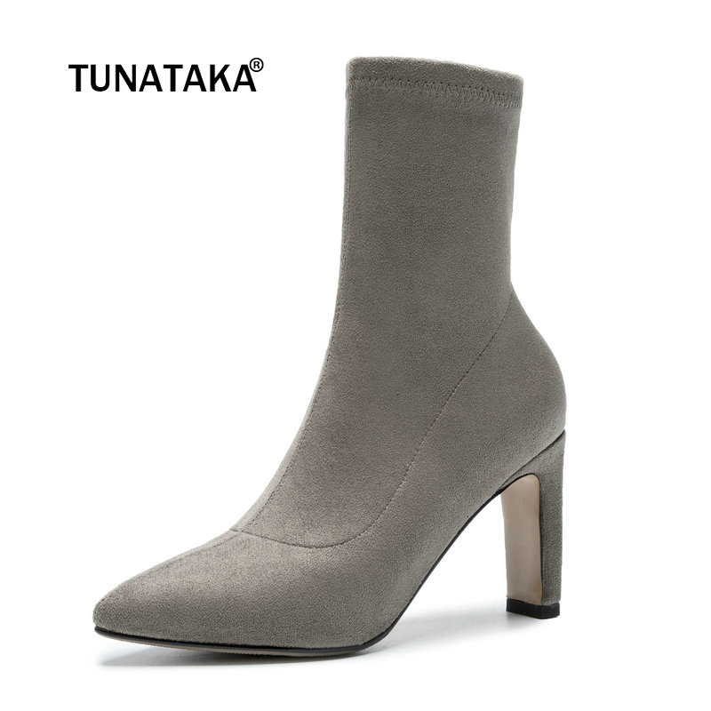 Ladies Suede Square High Heel Fashion Ankle Boots Women Slip On Pointed Toe Spring Autumn Booties Black Gray Brown women fashion ankle boots top quality suede autumn slip on pointed toe flats punk suede biker boots ladies shoes wholesales