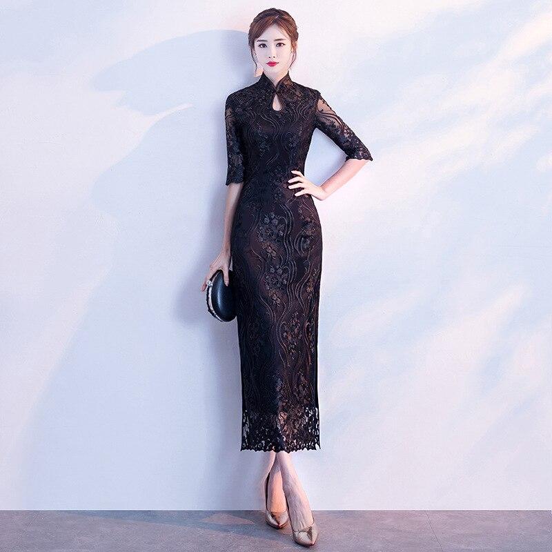 Свадебное Qipao Длинные Cheongsam современный китайское традиционное платье черный сексуальный cheongsam платье Восточно китайское платье Восточный