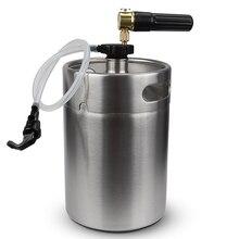 Нержавеющая сталь 5L мини пивной бочонок ворчун с карманом CO2 бочонок зарядное устройство и мини бочонок муфта домашнего пивоварения