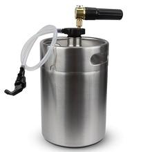 Mini barril de cerveza de acero inoxidable, 5L, con cargador de CO2 de bolsillo y mini acoplador de barril, elaboración casera
