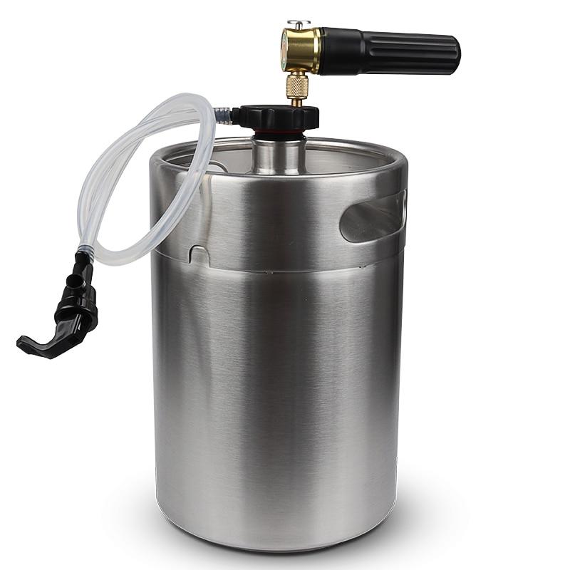 Ev ve Bahçe'ten Diğer Bar Aksesuarları'de Paslanmaz Çelik 5L Mini Bira Keg Growler Cep CO2 Keg Şarj Cihazı ve mini fıçı musluğu Ev Bira'da  Grup 1
