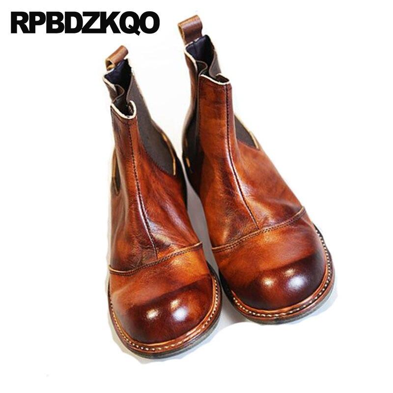 Kurzen Schuhe Herbst Stiefel Braun 2018 Slip Italienische Brown Stilvolle Grain Leder Designer Ankle Auf Chunky Booties Männer Chelsea Full wIw4agzq