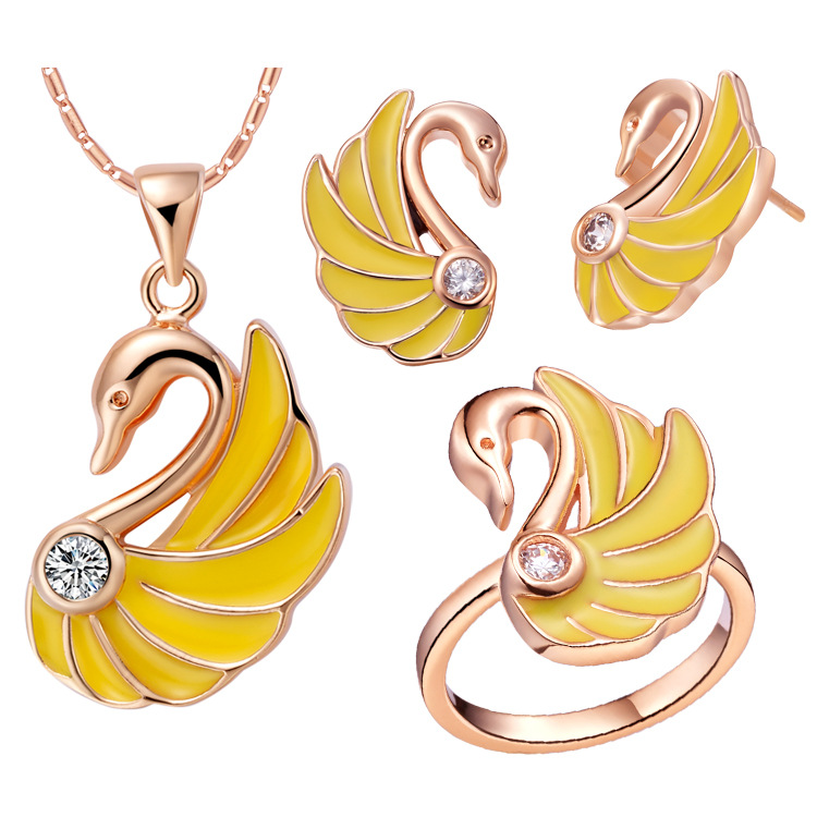 New Arrival Yellow Zircon Jewelry Set For Women Luxury Goose Design With Gold Color Necklace Earrings Rings For Wedding