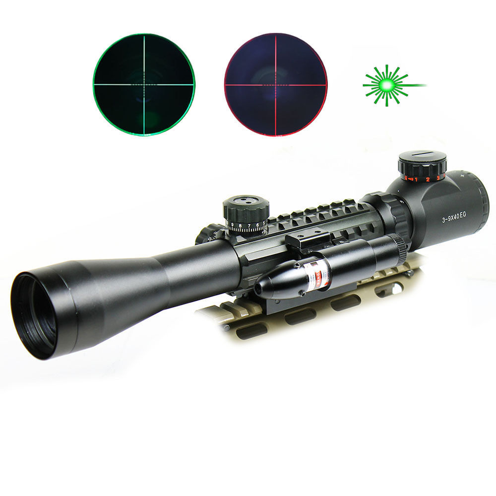 Hunting Red Dot Sight Tactical 3-9X40Dual illuminated Mil Dot Rifle Scope with Green Laser Sight Combo Airsoft Weapon Sight falcon eye fe 9935pg